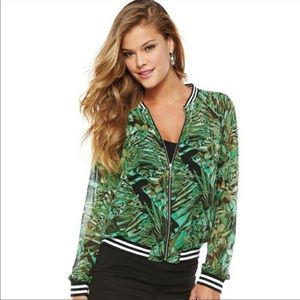 Juicy Couture Tropical Print Zippered Fron…